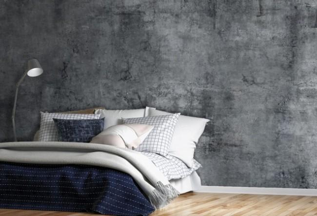 betong tapet sovrum fototapet mörk grå fondvägg concrete betongvägg