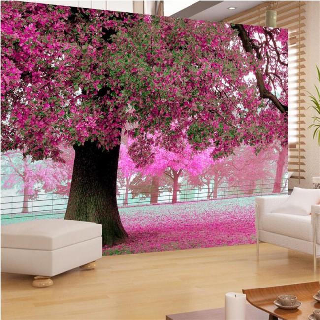 romantisk tapet rosa träd fototapet natur tapet