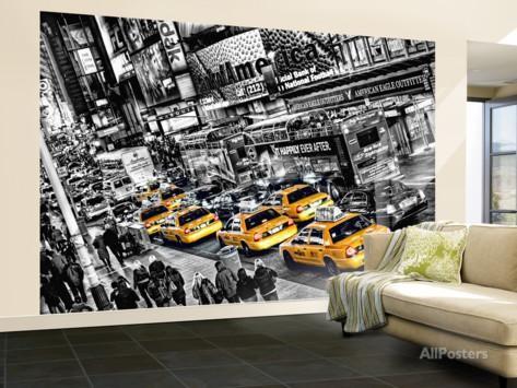 new york tapet svart vit fototapet gula taxibilar