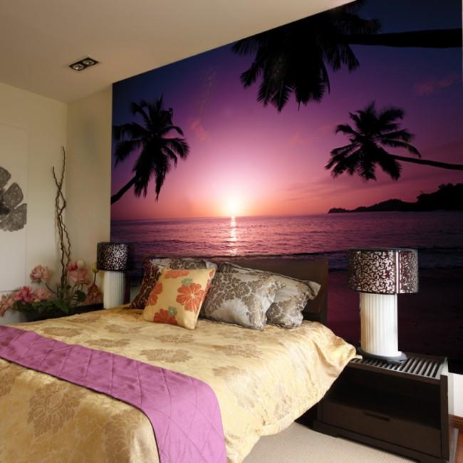 sovrum tapet lila solnedgång tropisk tapet palmer
