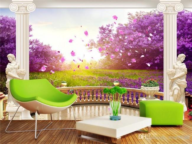 Landskap tapet lila fototapet natur