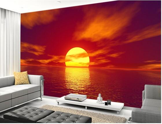tapet solnedgång hav fototapet vardagsrum natur tapet