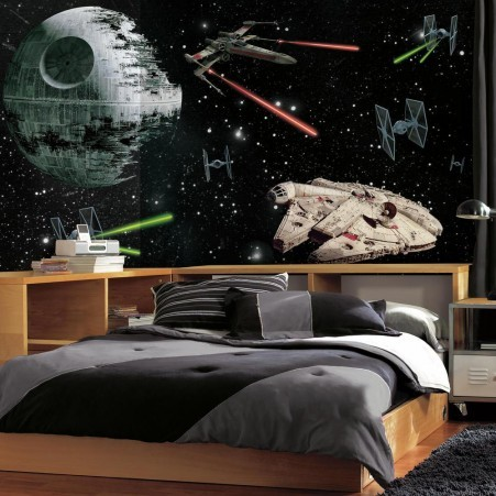 fototapet star wars space rymden death star millennium falcon killtapet pojktapet killrum