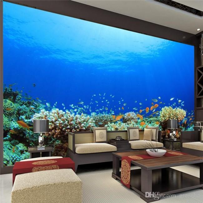 3d tapet akvarium fototapet under vattnet fiskar korallrev