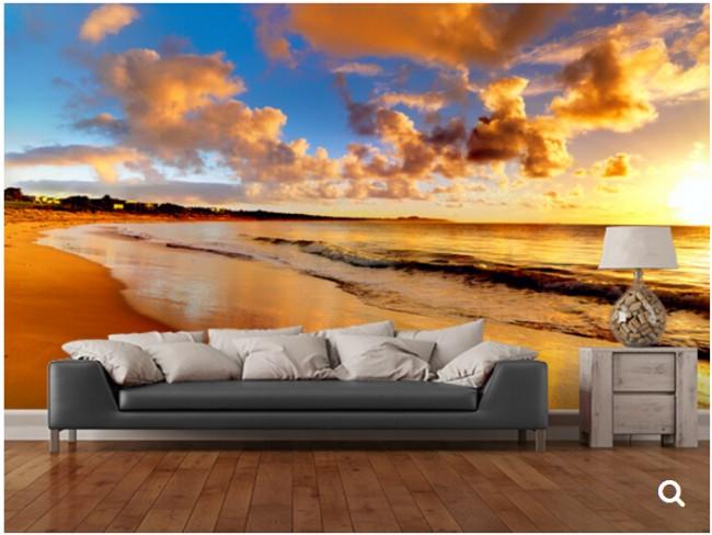 solnedgång tapet strand hav vågor moln fototapet vardagsrum