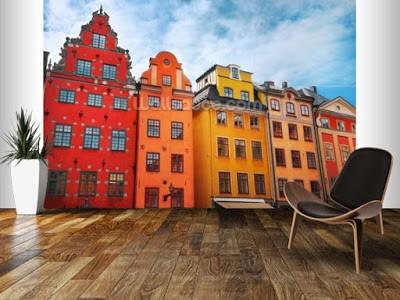 stockholm tapet gamla stan hus fototapet