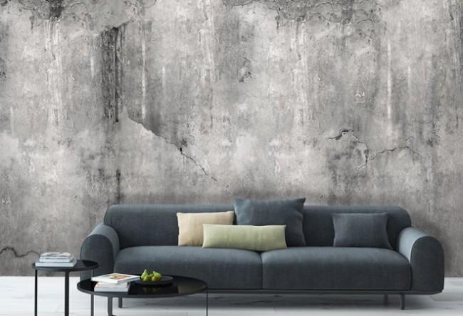 Betongtapeter vardagsrum fototapet betongvägg