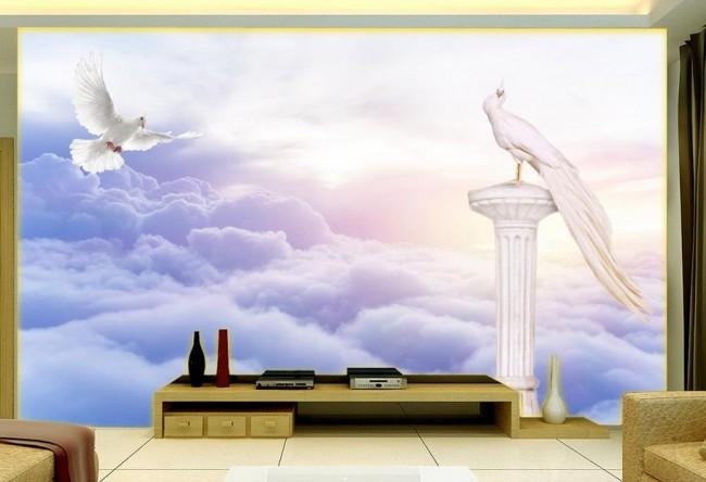moln tapet himmel fototapet fåglar