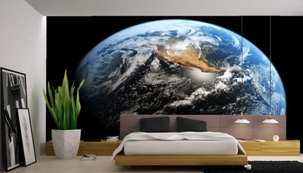 tapet rymden jorden planet fototapet sovrum