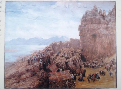 Här en gammal tavla avbildad som föreställer klippan på bilden här nedanför...