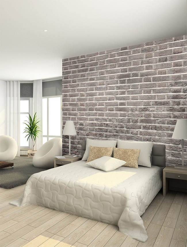 tegeltapet grå fototapet sovrum tegelvägg