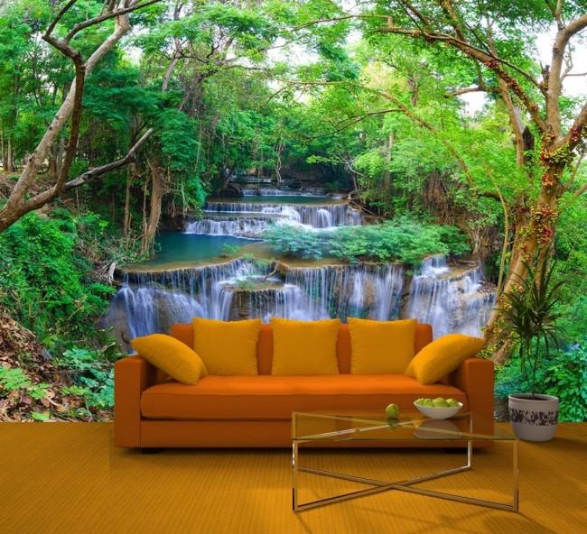 tapet natur fototapet vattenfall fondvägg
