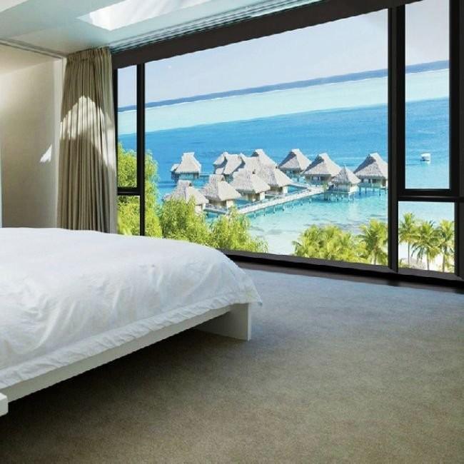fototapet sovrum fönster utsikt tropisk hav