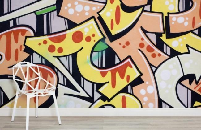 Graffiti tapet gul rosa fototapet häftig tapet