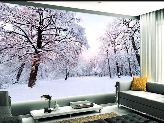 tapeter vardagsrum vinter landskap skog träd fototapet vardagsrumtapet
