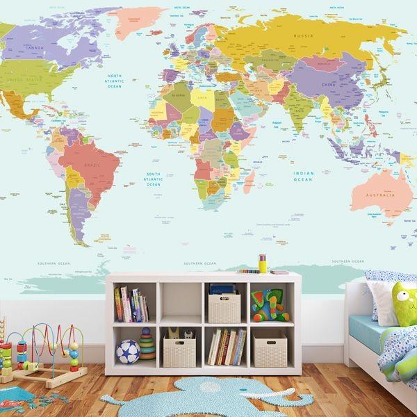 Världskarta tapet barn fototapet världskarta barnrum