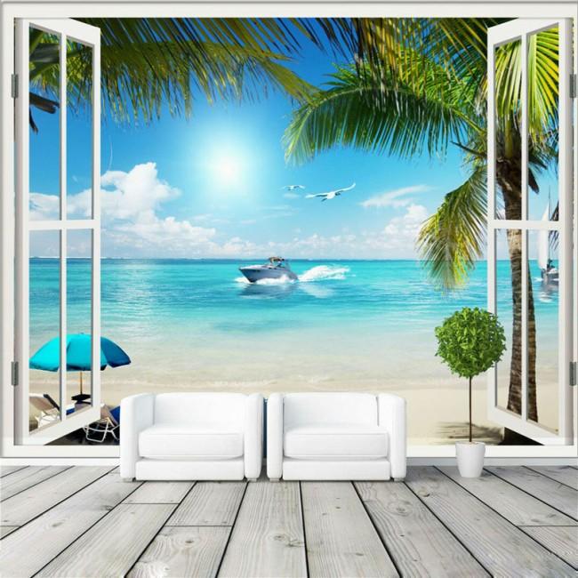 hav strand tapet fönster fototapet utsikt palmer tropisk tapet fondvägg