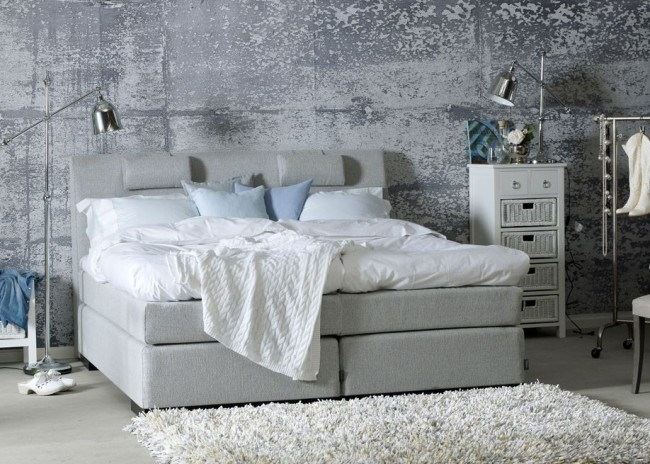 Betongtapeter sovrum grå tapet fondvägg fototapet