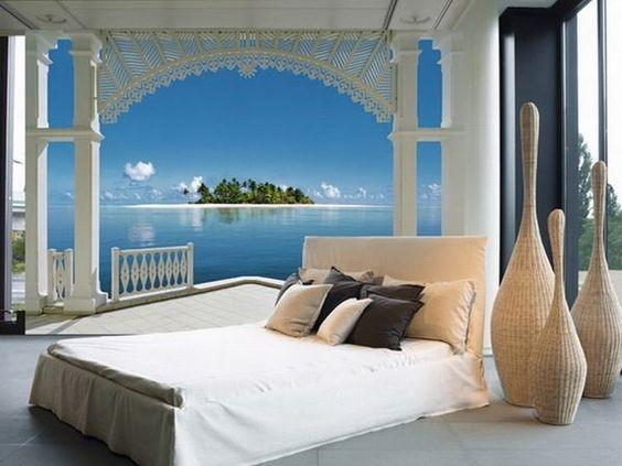 tapet romantisk fototapet sovrum tropisk tapet utsikt strand