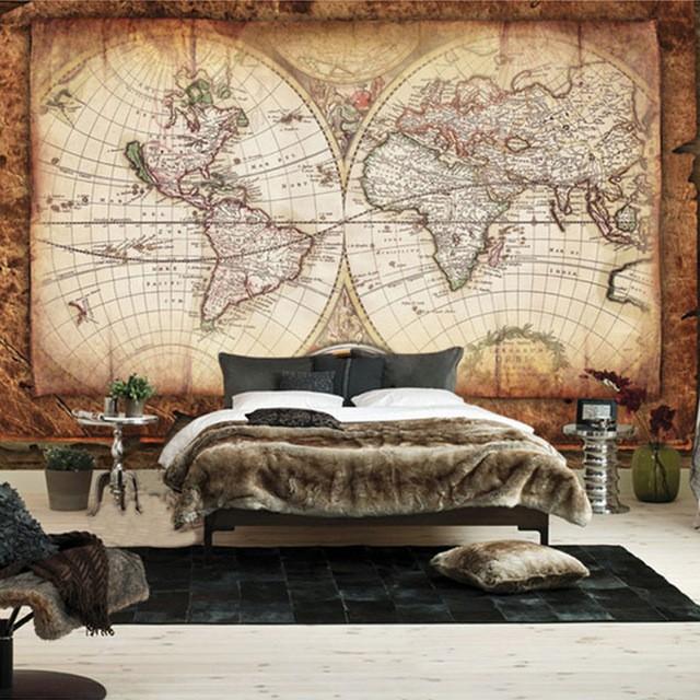 världskarta tapet vintage fototapet retro fondvägg sovrum