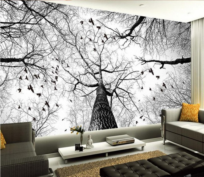 3d tapet vardagsrum träd grenar