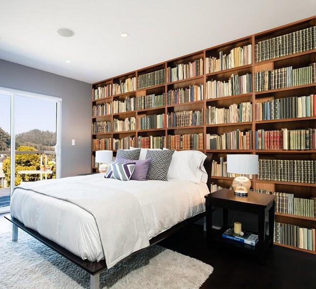 tapet bokhylla fototapet böcker sovrumstapet