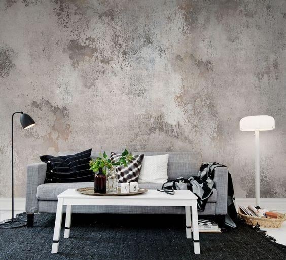 fototapet betong grå tapet vardagsrum concrete
