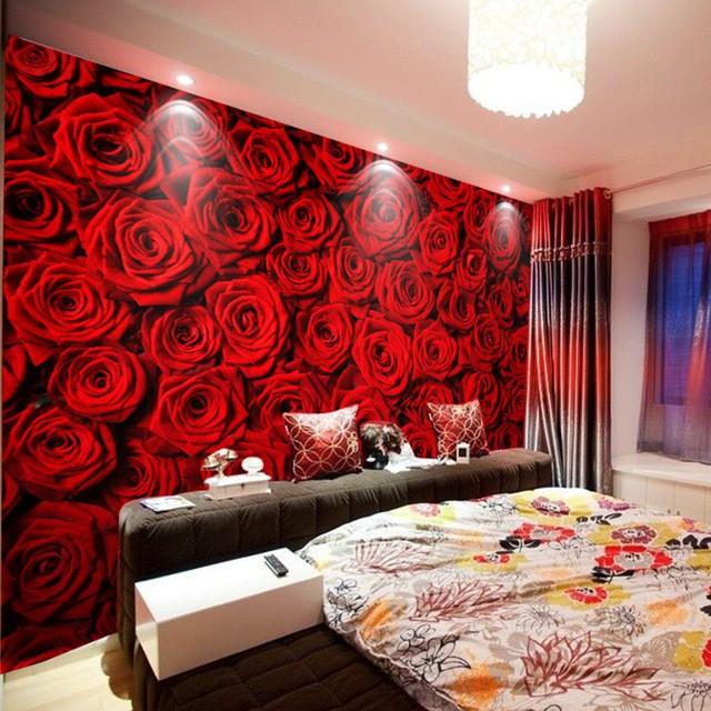 romantisk tapet röda rosor fototapet blommig tapet sovrum fondvägg röd