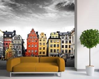 stockholmstapet gamla stan hus fototapet vardagsrum
