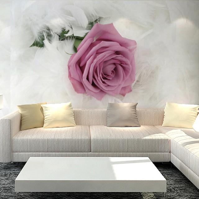 blommig tapet 3d rosa ros fototapet vardagsrum 3d fondtapet blomma